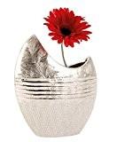 Vase décoratif moderne fleurs, céramique argent hauteur 23 cm