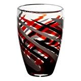 """Vase en verre, Collection """"FLAME"""", rouge/gris/noir, 28 cm, fait à main (AMARA DESIGN powered by CRISTALICA)"""