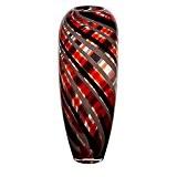 """Vase en verre, Collection """"FLAME"""", rouge/gris/noir, 36 cm, fait à main (AMARA DESIGN powered by CRISTALICA)"""