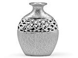 Vase rond argenté en céramique - 24 cm