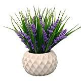 VGIA Plante artificielle en pot moderne, motif fleurs de lavande et herbes, décoration de table