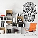 Vinyl Sugar Skull Wall Decal Skull Wall Sticker Mexican Wall Decor Sugar Skull Version Wall Mural Home Art Decor Black ...