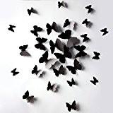 Vovotrade® 12 Pcs 3D Stickers muraux Papillon Aimant pour Décoration Nouveau (Noir)