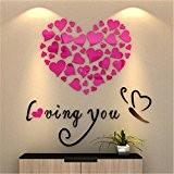 Vovotrade Love Heart DIY Vinyle Amovible Décalque Art Murale Autocollants Muraux Home Decor Chambre (Rose)