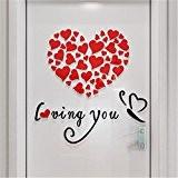 Vovotrade Love Heart DIY Vinyle Amovible Décalque Art Murale Autocollants Muraux Home Decor Chambre (Rouge)
