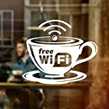 Wall4Stickers® WIFI Cup gratuit Autocollant Graphique Café Boutique Salon Bar Restaurant