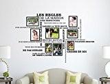 Wallflexi Stickers muraux Citation de règles de la maison française avec cadre photo Cage à oiseaux Stickers muraux Décoration Salon ...