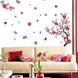 Wallpark Classique Rouge Prune Fleurir Fleur & Hirondelles Amovible Stickers Muraux Autocollants, Salon Chambre Maison DIY Décoratif Adhésif Stickers Mural