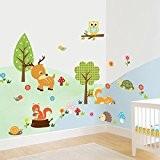 Wallpark Dessin animé Animal Jungle - Mignon Cerf Hibou Oiseaux & Fleurs Arbre - Amovible Stickers Muraux Autocollants, Enfants Bébé ...