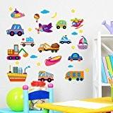 Wallpark Dessin animé Le transport Voitures Bateaux Avions Amovible Stickers Muraux Autocollants, Enfants Bébé Chambre Pépinière DIY Décoratif Adhésif Stickers ...