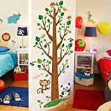 Wallpark Dessin animé Mignon Animaux Singe Lion Girafe Grand Arbre Croissance Hauteur Toise Amovible Stickers Muraux Autocollants, Enfants Bébé Chambre ...