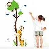 Wallpark Dessin Animé Mignon Girafe Oiseaux U0026 Singes Escalade Arbre  Croissance Hauteur Toise Amovible Stickers Muraux