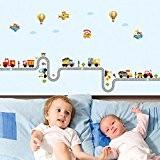 Wallpark Dessin animé Voiture Avion Balloon Amovible Stickers Muraux Autocollants, Enfants Bébé Chambre Pépinière DIY Décoratif Adhésif Stickers Mural