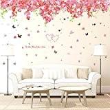 Wallpark Doux Romantique Fleurs de cerisier Fleurs Papillons Amovible Stickers Muraux Autocollants, Salon Chambre Maison DIY Décoratif Adhésif Stickers Mural