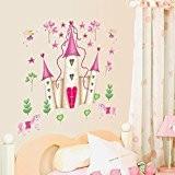 Wallpark Filles Dessin animé Romantique Rose Princesse Salle Château Amovible Stickers Muraux Autocollants, Salon Enfants Chambre Pépinière DIY Décoratif Adhésif ...