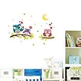 Wallpark Mignon Hibou Famille sur Arbre Branche à Étoiles Clair de lune Amovible Stickers Muraux Autocollants, Enfants Bébé Chambre Pépinière ...