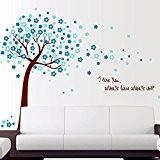 Wallpark Romantique Bleu Fleur de Cerisier Fleur Arbre Amour Mots Amovible Stickers Muraux Autocollants, Salon Chambre Maison DIY Décoratif Adhésif ...