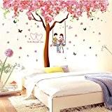 Wallpark Romantique Fleurs de cerisier Fleurs Arbre Balançoire Amoureux Amovible Stickers Muraux Autocollants, Salon Chambre Maison DIY Décoratif Adhésif Stickers ...