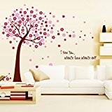 Wallpark Romantique Rose Fleur de Cerisier Fleur Arbre Amour Mots Amovible Stickers Muraux Autocollants, Salon Chambre Maison DIY Décoratif Adhésif ...