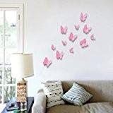 Walplus - Autocollant Mural Décoratif Papillon Rose 3D 12pcs Amélioration Deco