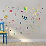 Walplus Pack combo sticker mural WS3025 éclat de galaxie Plus WS3011 Chiffre Plus WS3012 alphabet, multicolore