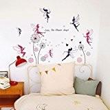 Walplus Pack combo sticker mural WS5020 Fées Plus WS3017 Pissenlit rose, multicolore