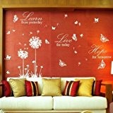 Walplus Pack combo sticker mural WS5022W papillons/pissenlits blancs Plus WS3024W Learn Live Hope blanc, multicolore