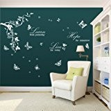 Walplus Pack combo sticker mural WS5036W papillons blancs/vigne Plus WS3024W Learn Live Hope, multicolore