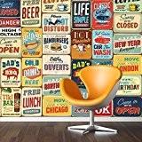"""Walplus Stickers muraux 152x 161cm Stickers Muraux """"Signe en métal style vintage Collage 1amovible en vinyle autocollant murale Art Stickers ..."""