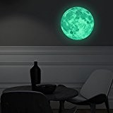 Walplus Stickers muraux 30 x 30 cm mur Stickers phosphorescent en lune amovible en vinyle autocollant murale Art Stickers Décoration DIY Salon ...