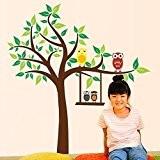 Walplus Stickers muraux Hiboux, arbre vert