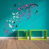Walplus Stickers muraux wsm205714Miroir Papillons plus ws9034Fleurs Rose Fleurs Mur Art, multicolore