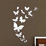 Walplus (TM) Décoration Murale Papillons Miroir autocollants–Home, 14, finition Taille 37cm x 55cm, en PVC, amovible, adhésif, multicolore