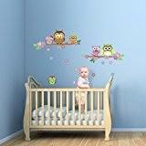 WalplusOwl Sticker mural Motif arbre fleuri pour la décoration de la maison, la chambre d'enfant, à l'intérieur de la famille ...