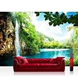 WATERFALL iN paRADISE papier peint photo en tissu non-tissé de liwwing papier peint motif cascade lagon paradisiaque, bleu, Fototapete 400x280cm ...