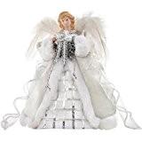 WeRChristmas 30 cm-Sapin de Noël en forme d'ange ailé Argenté/blanc