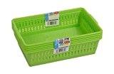 Wham Lot de 3 paniers de rangement en plastique Vert Taille M