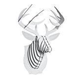 WILD CARDBOARD SAFARI 3D ANIMAL HEAD TROPHY BUST WALL PICTURE MEDIUM in white Buck the Deer by CARDBOARD SAFARI