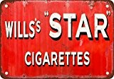 Wills étoile de Cigarettes Aspect vintage Reproduction Plaque en métal 17,8 x 25,4 cm