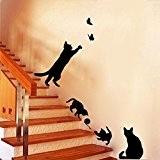 Winhappyhome Mignon Jeu De Naughty Noir Cats Amovible Stickers Muraux Pour Coucher Salon Escaliers Walkway Toile D¨¦Cor