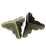 WINOMO 30pcs 25mm Antique Style alliage meubles décoratifs Triangle boîte protecteurs baguettes d'angle Pads housses de bord Desk (Bronze)