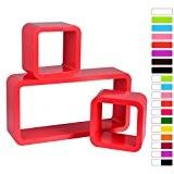 WOLTU 9212 Lot de 3 étagère murale Cube,étagère CD DVD murale en bois MDF,Rouge