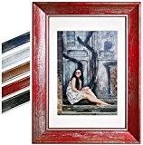 WOLTU BR9852rt Cadre photo Galerie de photos, Photo Collage Galerie, bois et verre véritable, schabby antique vintage,10x15cm,Rouge