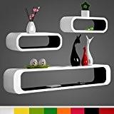 WOLTU RG9230sz Lot de 3 étagère murale,étagère à livres,étagère CD DVD murale Salon Design Rétro,Blanc Noir