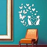 WWalplus (TM) Stickers muraux Combo chat Décoration-Miroir et Papillons-Miroir Mural-décor du domicile, 80 x 80 cm, PVC, Argent
