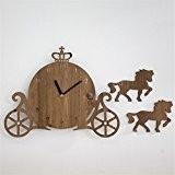 WZ Wallclock Bricolage conte 3D cartoon horloge murale en bois chariot silencieux quartz créative décoration mural chambre enfant chambre jardin