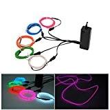 Xcellent Global Lot de 5 Néons El Wire, Fil Lumineux Électroluminescent Stroboscopique Clignotant + 3 Modes avec Capteur de Son ...