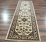 XL Classic Floral Oriental de Style persan Tapis traditionnel Tapis de couloir Beige 67 x 300 cm