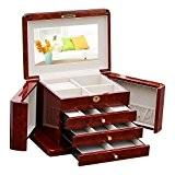 XYLUCKY Handmade haut de gamme en bois massif rouge quatre couches boîte à bijoux / bande miroir / serrure / ...