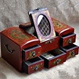 XYLUCKY Main en bois rétro rectangle maquillage boîte-dragon et Phoenix bijoux boîte de rangement / bande miroir